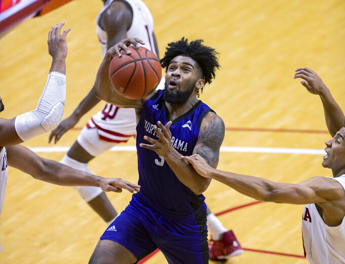 North Alabama's Jamari Blackmon (3) drives the ball to the basket during the second half of an NCAA college basketball game against Indiana, Tuesday, Nov. 12, 2019, in Bloomington, Ind. Indiana won 91-65. (AP Photo/Doug McSchooler)