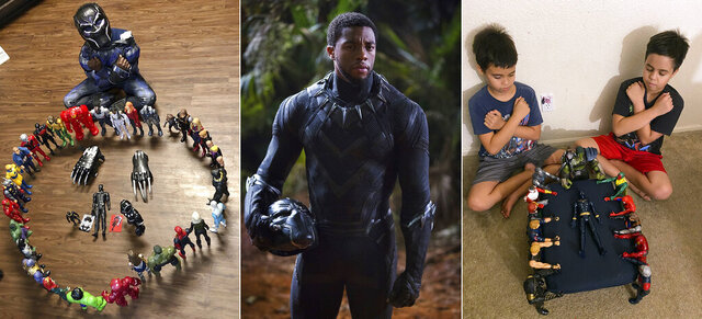 This combination photo shows, from left, Gavyn Batiste, 7, dressed as Black Panther and surrounded by action figures in Lafayette, La. on Aug. 31, 2020, actor Chadwick Boseman in character as T'Challa in