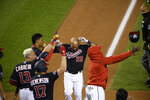 Washington Nationals' Yadiel Hernandez (29) celebrates his game-ending, two-run home run during the eighth inning of the second baseball game of the team's doubleheader against the Philadelphia Phillies, Tuesday, Sept. 22, 2020, in Washington. The Nationals won 8-7. (AP Photo/Nick Wass)