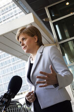 Scotland's First Minister Nicola Sturgeon speaks with journalists outside EU headquarters in Brussels, Tuesday, June 11, 2019. Scottish First Minister Nicola Sturgeon is in Brussels Tuesday to meet with European Union chief Brexit negotiator Michel Barnier and European Commission President Jean-Claude Juncker. (AP Photo/Virginia Mayo)