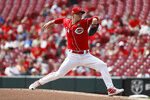 Cincinnati Reds starting pitcher Sonny Gray throws in the first inning of a baseball game against the Miami Marlins, Thursday, April 11, 2019, in Cincinnati. (AP Photo/John Minchillo)