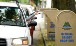 Voters drop off ballots on the day of Oregon's primary election at a drive by drop-off station in Portland, Ore., Tuesday, May 15, 2018. (AP Photo/Don Ryan)