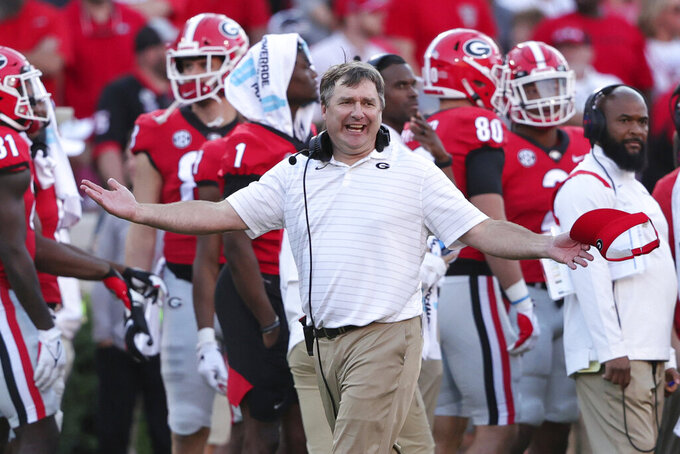 Georgia head coach Kirby Smart reacts to a called timeout by Kentucky during the second half of an NCAA college football game Saturday, Oct. 16, 2021 in Athens, Ga. (AP Photo/Butch Dill)