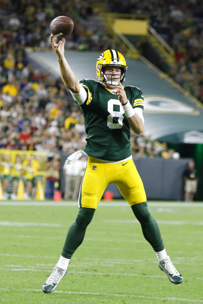 Green Bay Packers quarterback Tim Boyle throws a pass during the second half of the team's NFL preseason football game against the Houston Texans on Thursday, Aug. 8, 2019, in Green Bay, Wis. (AP Photo/Mike Roemer)