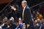 Tennessee coach Rick Barnes addresses an official during the first half of the team's NCAA college basketball game against Murray State on Tuesday, Nov. 12, 2019, in Knoxville, Tenn. (Saul Young/Knoxville News Sentinel via AP)