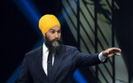 NDP leader Jagmeet Singh takes part in the Federal leaders French language debate in Gatineau, Quebec, Thursday, Oct. 10, 2019. (Chris Wattie/The Canadian Press via AP)