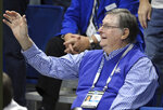 Former Kentucky coach Joe B. Hall waves to the crowd during the first half of the team's NCAA college basketball game against UAB in Lexington, Ky., Friday, Nov. 29, 2019. (AP Photo/James Crisp)