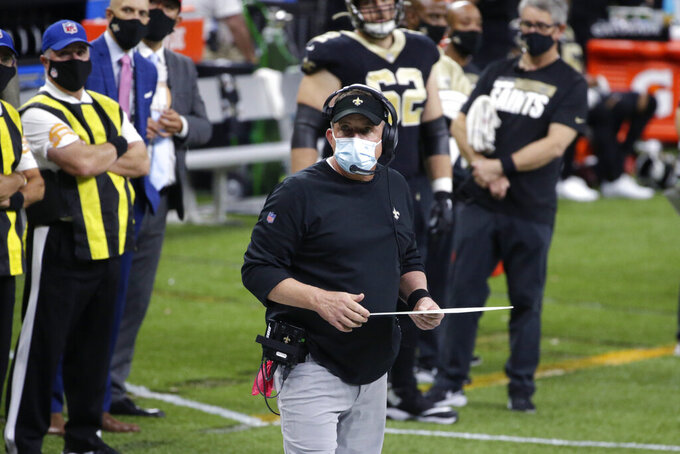 New Orleans Saints head coach Sean Payton watches from the sideline in the second half of an NFL football game against the San Francisco 49ers in New Orleans, Sunday, Nov. 15, 2020. (AP Photo/Butch Dill)