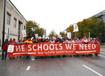 Chicago Teachers Union members and supporters march on Roosevelt Road, Wednesday, Oct. 30, 2019, in Chicago. (Kevin Tanaka/Chicago Sun-Times via AP)