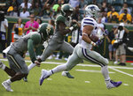 Kansas State Alex Barnes, right, scores past Baylor safety Chris Miller, left and wide receiver Kalon Barnes, center, during the first half of an NCAA college football game, Saturday, Oct. 6, 2018, in Waco, Texas. (Rod Aydelotte/Waco Tribune-Herald via AP)