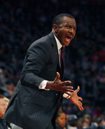 Detroit Pistons coach Dwane Casey yells during the first half of the team's NBA basketball game against the Atlanta Hawks, Thursday, Oct. 24, 2019, in Detroit. (AP Photo/Carlos Osorio)