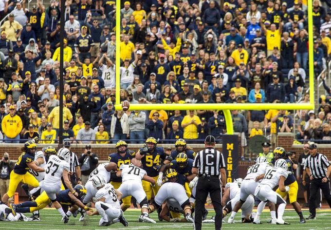 Western Michigan kicker Josh Grant (37) kicks a 35-yard field goal in the fourth quarter of an NCAA college football game against Michigan in Ann Arbor, Mich., Saturday, Sept. 8, 2018. Michigan won 49-3. (AP Photo/Tony Ding)