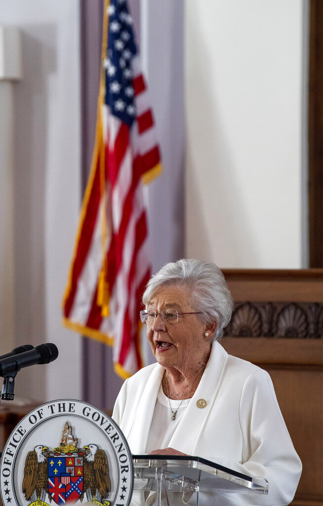 Alabama Gov. Kay Ivey gives a COVID-19 update during a news conference at the Alabama Capitol Building in Montgomery, Ala., on Thursday March 4, 2021. With states including Texas and neighboring Mississippi ending masking requirements, Ivey announced Thursday that masks will be required in the state of nearly 5 million people through April 9. (Mickey Welsh/The Montgomery Advertiser via AP)