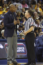 Memphis Head Coach Penny Hardaway questions a call in the second half of an NCAA college basketball game at the American Athletic Conference tournament Saturday, March 16, 2019, in Memphis, Tenn. (AP Photo/Troy Glasgow)