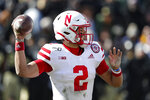 Nebraska quarterback Adrian Martinez (2) throws against Purdue during the second half of an NCAA college football game in West Lafayette, Ind., Saturday, Nov. 2, 2019. Purdue defeated Nebraska 31-27. (AP Photo/Michael Conroy)