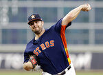 Houston Astros starting pitcher Wade Miley throws against the Baltimore Orioles during the first inning of a baseball game Sunday, June 9, 2019, in Houston. (AP Photo/Michael Wyke)
