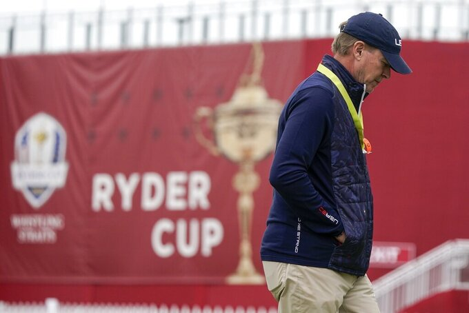 Team USA captain Steve Stricker walks on a practice green at the Whistling Straits Golf Course Monday, Sept. 20, 2021, in Sheboygan, Wis. (AP Photo/Morry Gash)