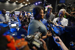 FILE - In this Nov. 20, 2019, file photo former Democratic candidate for Georgia Governor, Stacey Abrams speaks during an interview ahead of a presumptive Democratic presidential primary debate in Atlanta. Presumptive Democratic presidential nominee Joe Biden has already narrowed the field by saying he will pick a woman. In addition to Sen. Kamala Harris, Sen. Amy Klobuchar and Michigan Gov. Gretchen Whitmer, other names that have been part of the speculation are Sen. Elizabeth Warren of Massachusetts and Abrams. (AP Photo/John Amis, File)