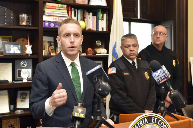 Holyoke Mayor Alex Morse announces the cancellation of the Holyoke St. Patrick's Day Parade and Road Race due to public health concerns related to the coronavirus, on Tuesday, March 10, 2020. (Don Treeger/The Republican via AP)