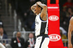 Los Angeles Clippers guard Lou Williams (23) reacts to a foul call in the second half of an NBA basketball game against the Atlanta Hawks, Wednesday, Jan. 22, 2020, in Atlanta. The Hawks won 102-95. (AP Photo/Brett Davis)