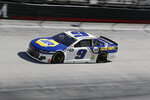 Chase Elliott (9) drives during a NASCAR Cup Series auto race at Bristol Motor Speedway Sunday, May 31, 2020, in Bristol, Tenn. (AP Photo/Mark Humphrey)