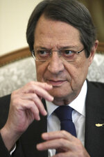 Cyprus' president Nicos Anastasiades talks during an interview with Associate Press at the presidential palace in capital Nicosia, Cyprus, Tuesday Sept. 17, 2019. Anastasiades says Turkey's