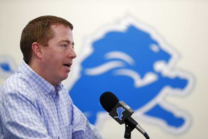 Detroit Lions General Manager Bob Quinn addresses the media in his annual pre-draft news conference, Thursday, April 18, 2019, in Allen Park, Mich. (AP Photo/Carlos Osorio)