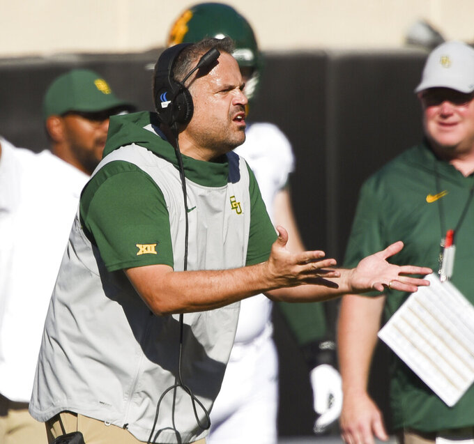 Baylor head coach Matt Rhule gestures to an official during the first half of an NCAA college football game against Oklahoma State in Stillwater, Okla., Saturday, Oct. 19, 2019. (AP Photo/Brody Schmidt)