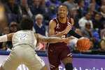 Fordham's Antwon Portley, right, looks to pass as Saint Louis' Tay Weaver, left, defends during the first half of an NCAA college basketball game Sunday, Jan. 26, 2020, in St. Louis. (AP Photo/Jeff Roberson)
