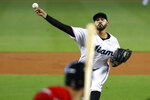 Miami Marlins' Pablo Lopez pitches to Washington Nationals' Trea Turner during the first inning of a baseball game, Sunday, Sept. 22, 2019, in Miami. (AP Photo/Wilfredo Lee)
