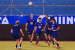 United States's players take part in a training session ahead of the FIFA World Cup Qatar 2022 qualifying soccer match between Honduras and United States in San Pedro Sula, Honduras, Tuesday, Sept. 7, 2021. (AP Photo/Moises Castillo)