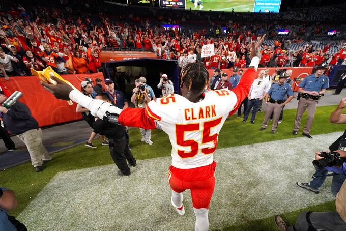 Kansas City Chiefs defensive end Frank Clark (55) leaves the field after an NFL football game against the Denver Broncos, Thursday, Oct. 17, 2019, in Denver. The Chiefs won 30-6. (AP Photo/Jack Dempsey)