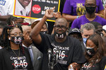 Philonise Floyd, brother of George Floyd, speaks at the March on Washington, Friday Aug. 28, 2020, at the Lincoln Memorial in Washington. (AP Photo/Jacquelyn Martin, Pool)