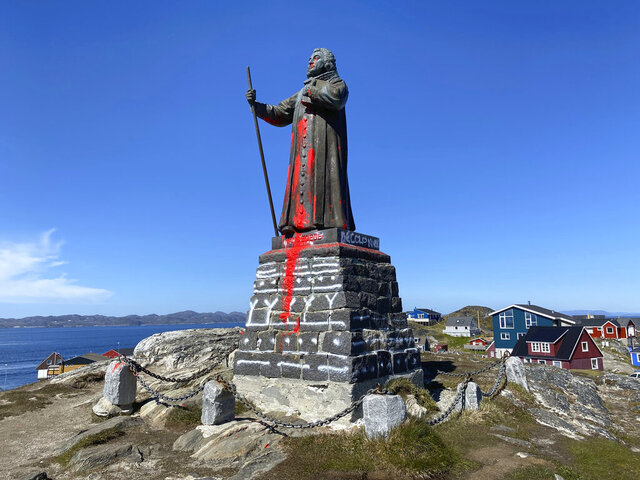The vandalised statue of noted coloniser Hans Egede in Nuuk, Greenland, Sunday June 21, 2020, daubed with red paint early Sunday morning. Hans Egede was a Dano-Norwegian Lutheran missionary who launched mission efforts to Greenland. (Christian Klindt Soelbeck/Ritzau Scanpix via AP)