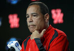 Houston head coach Kelvin Sampson listens to a question during a news conference at the NCAA men's college basketball tournament Thursday, March 28, 2019, in Kansas City, Mo. Houston plays Kentucky in a Midwest Regional semifinal on Friday. (AP Photo/Jeff Roberson)