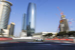 Mercedes driver Lewis Hamilton of Britain steers his car during the second free practice at the Baku Formula One city circuit in Baku, Azerbaijan, Friday, April 26, 2019. The Azerbaijan F1 Grand Prix race will be held on Sunday. (AP Photo/Sergei Grits)