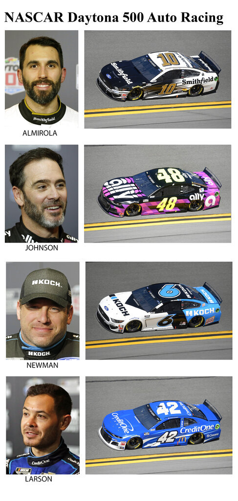 These photos taken in February 2020 show drivers in the starting lineup for Sunday's NASCAR Daytona 500 auto race in Daytona Beach, Fla. From top are Aric Almirola, starting in the fifth position; Jimmie Johnson, sixth position; Ryan Newman, seventh position and Kyle Larson, eighth position. (AP Photo)