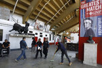 Workers prepare the Plaza de Toros Mexico bullfighting arena ahead of an upcoming exhibition tennis match dubbed