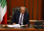 Lebanese Parliamnet Speaker Nabih Berri speaks during the opening session on the draft 2019 state budget, at the parliament building, in Beirut, Lebanon, Tuesday, July 16, 2019. The lawmakers have begun discussing the draft 2019 state budget amid tight security and limited protests against proposed austerity measures. The proposed budget aims to avert a financial crisis by raising taxes and cutting public spending in an effort to reduce a ballooning deficit. (AP Photo/Hussein Malla)