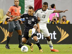Mexico midfielder Luis Montes (10) works to keep control of the ball from Costa Rica midfielder Allan Cruz (13) during the extra time period of their CONCACAF Gold Cup quarterfinal soccer match Saturday, June 29, 2019, in Houston. (AP Photo/Michael Wyke)