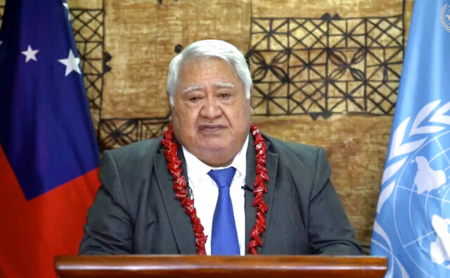In this image made from UNTV video, Tuilaepa Sailele Malielegaoi, Prime Minister, of Samoa, speaks in a pre-recorded message which was played during the 75th session of the United Nations General Assembly, Saturday, Sept. 26, 2020, at U.N. headquarters. (UNTV via AP)