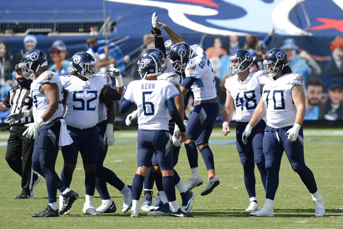 Tennessee Titans kicker Stephen Gostkowski (3) celebrates after kicking a 49-yard field goal against the Jacksonville Jaguars in the fourth quarter of an NFL football game Sunday, Sept. 20, 2020, in Nashville, Tenn. The kick gave the Titans a 33-30 win. (AP Photo/Mark Zaleski)
