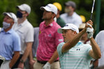 Jordan Spieth watches his tee shot on the sixth hole during the third round of the Masters golf tournament on Saturday, April 10, 2021, in Augusta, Ga. (AP Photo/Charlie Riedel)