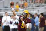 Arizona State quarterback Jayden Daniels throws prior to an NCAA college football game against Kent State, Thursday, Aug. 29, 2019, in Tempe, Ariz. Daniels is the first true freshman to start the opening game of the season at quarterback in school history. (AP Photo/Ralph Freso)