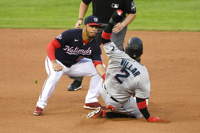 Miami Marlins' Jonathan Villar (2) is tagged out trying to steal second against Washington Nationals second baseman Luis Garcia, left, during the fifth inning of a baseball game, Friday, Aug. 21, 2020, in Washington. (AP Photo/Nick Wass)