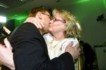 Chairman of The Centre Party Juha Sipil' hugs his wife Minna-Maaria Sipil' during The Centre Party parliament election party in Helsinki, Finland on  Sunday, April 14, 2019. (Heikki Saukkomma/Lehtikuva via AP)