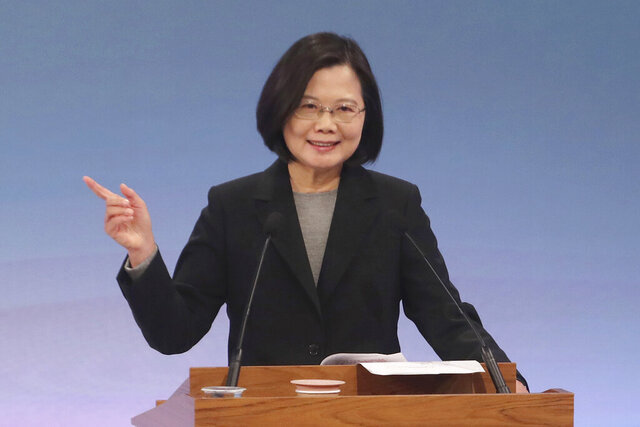 Taiwan's 2020 presidential election candidate Tsai Ing-wen of the Democratic Progressive Party (DPP) speaks during a televised policy debate in Taipei, Taiwan, Sunday, Dec. 29, 2019. Taiwan will hold its general elections on Jan. 11, 2020. (Pool Photo via AP)