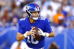 New York Giants quarterback Eli Manning looks to pass during the first half of the team's preseason NFL football game against the New York Jets on Thursday, Aug. 8, 2019, in East Rutherford, N.J. (AP Photo/Adam Hunger)