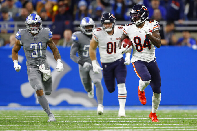 Chicago Bears wide receiver Cordarrelle Patterson (84) runs during the first half of an NFL football game against the Detroit Lions, Thursday, Nov. 28, 2019, in Detroit. (AP Photo/Paul Sancya)
