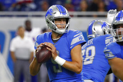 Detroit Lions quarterback Matthew Stafford drops back to pass during the first half of the team's NFL preseason football game against the Buffalo Bills in Detroit, Friday, Aug. 23, 2019. (AP Photo/Rick Osentoski)
